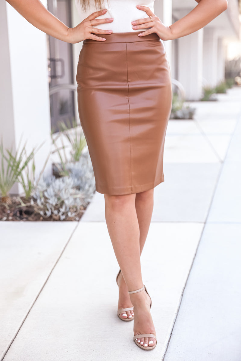 Camel Faux Leather Pencil Skirt