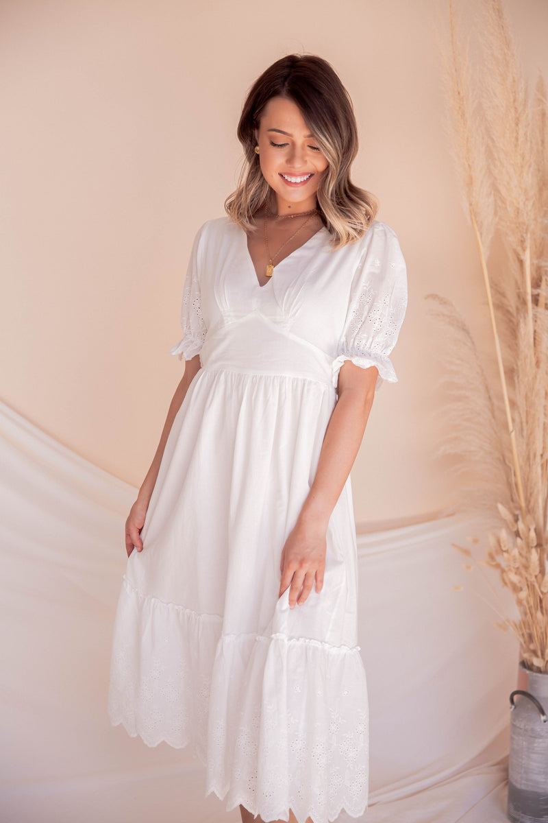 Whisper Eyelet Midi Dress | White