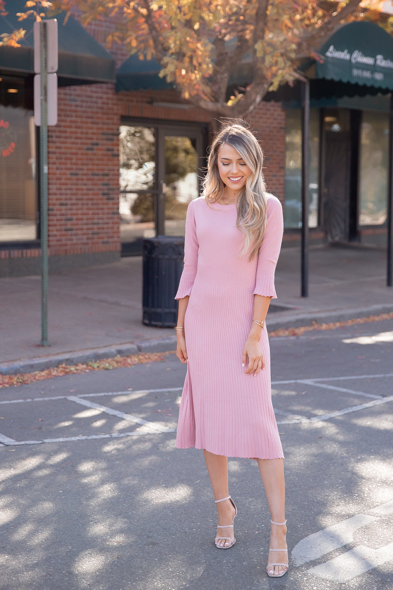 Sway Soft Blush Ribbed Dress- FINAL SALE