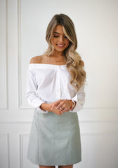 White Off Shoulder Shirt