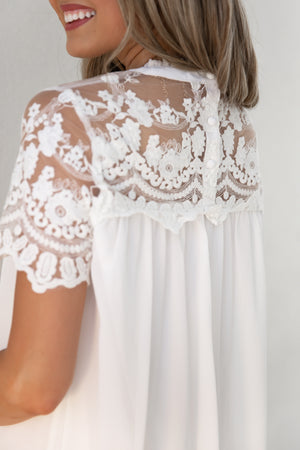 White Crochet Neck Babydoll Dress- FINAL SALE