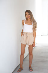Beige Scallop Edge Shorts