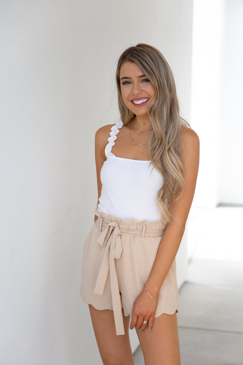 Beige Scallop Edge Shorts- FINAL SALE