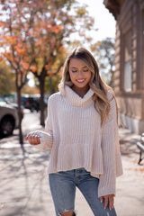 Almond Babydoll Turtleneck Sweater