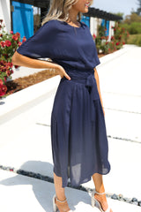 Madam Navy Midi Dress
