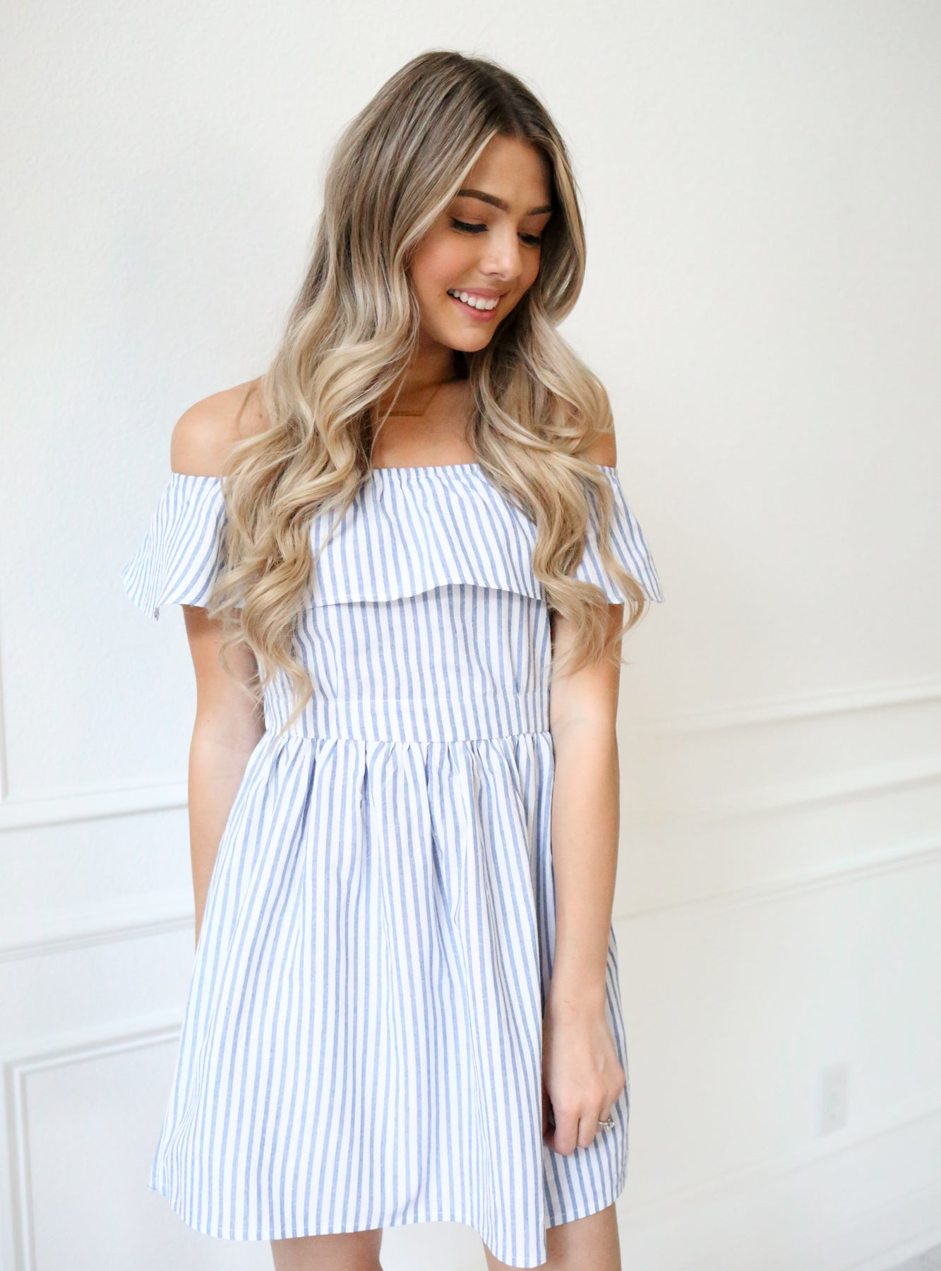 a9fd1871cc66 Striped Off Shoulder Dress