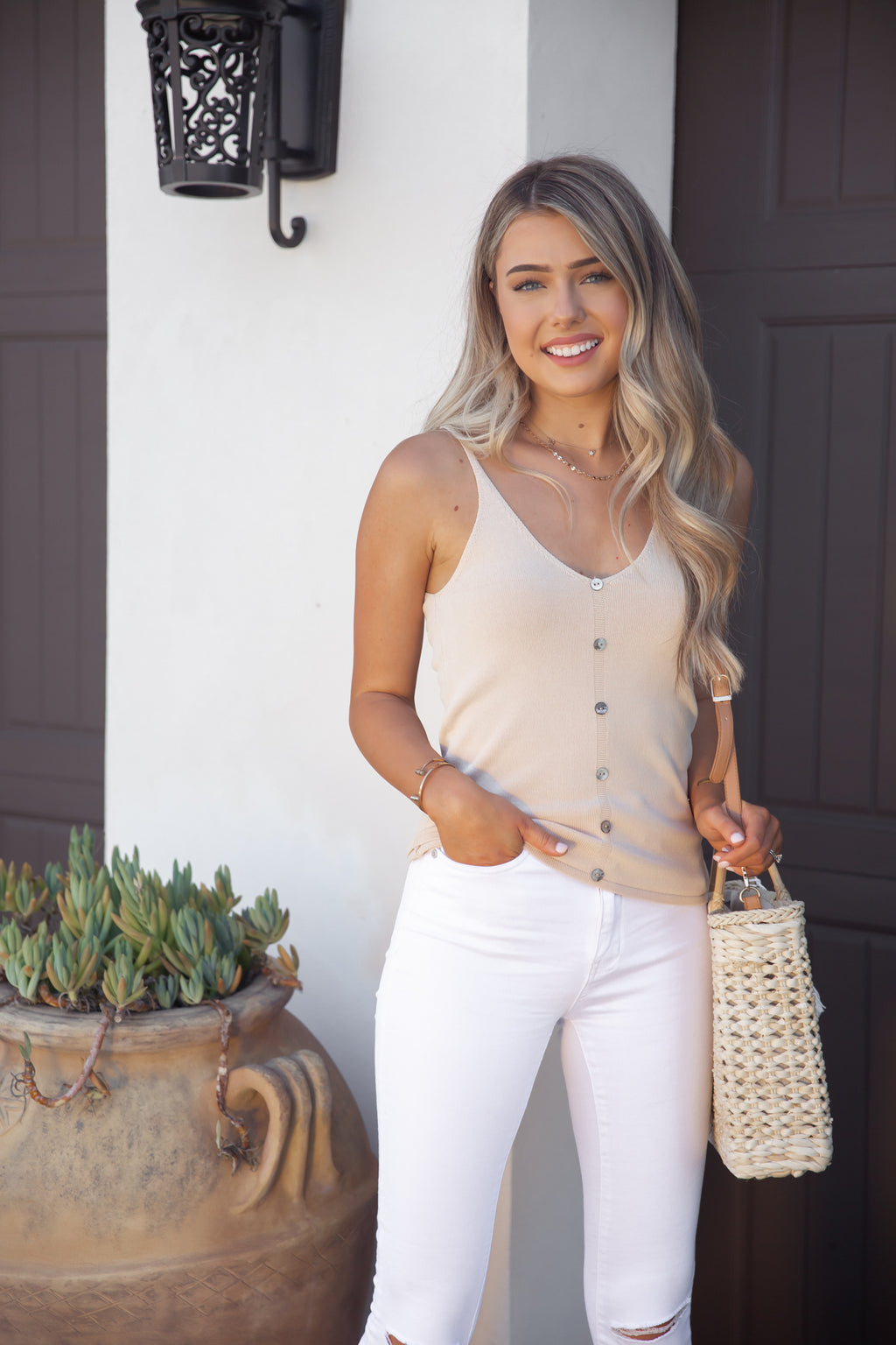 Alissa Button Down Knit Tank in Cream- FINAL SALE