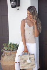 Alissa Button Down Knit Tank in Cream