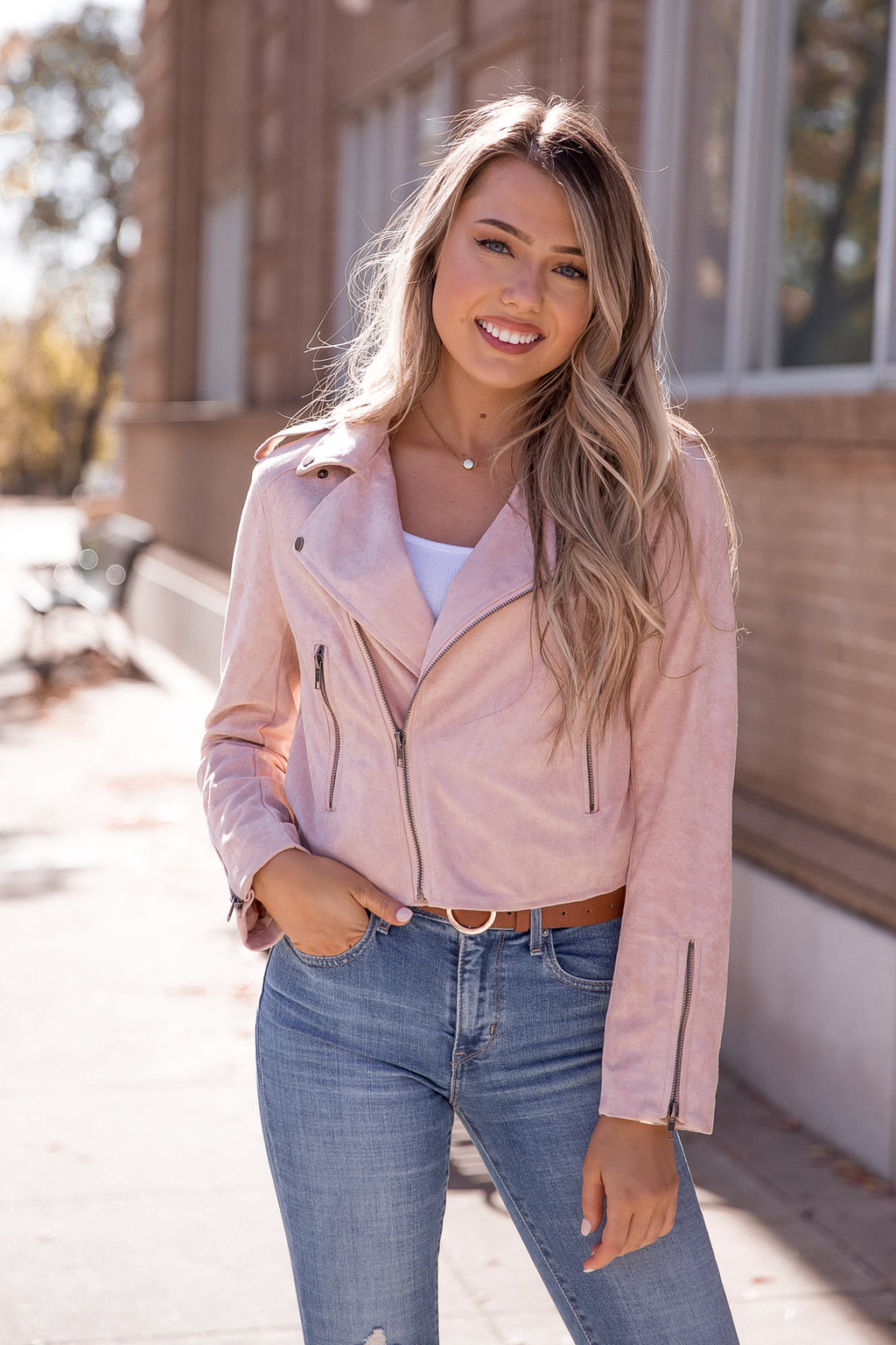 Blush Suede Rider Jacket-FINAL SALE