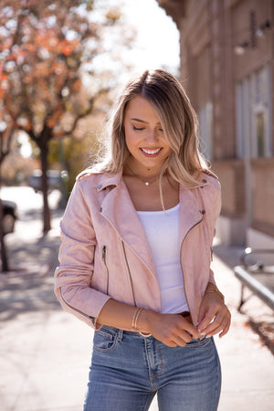 Blush Suede Rider Jacket