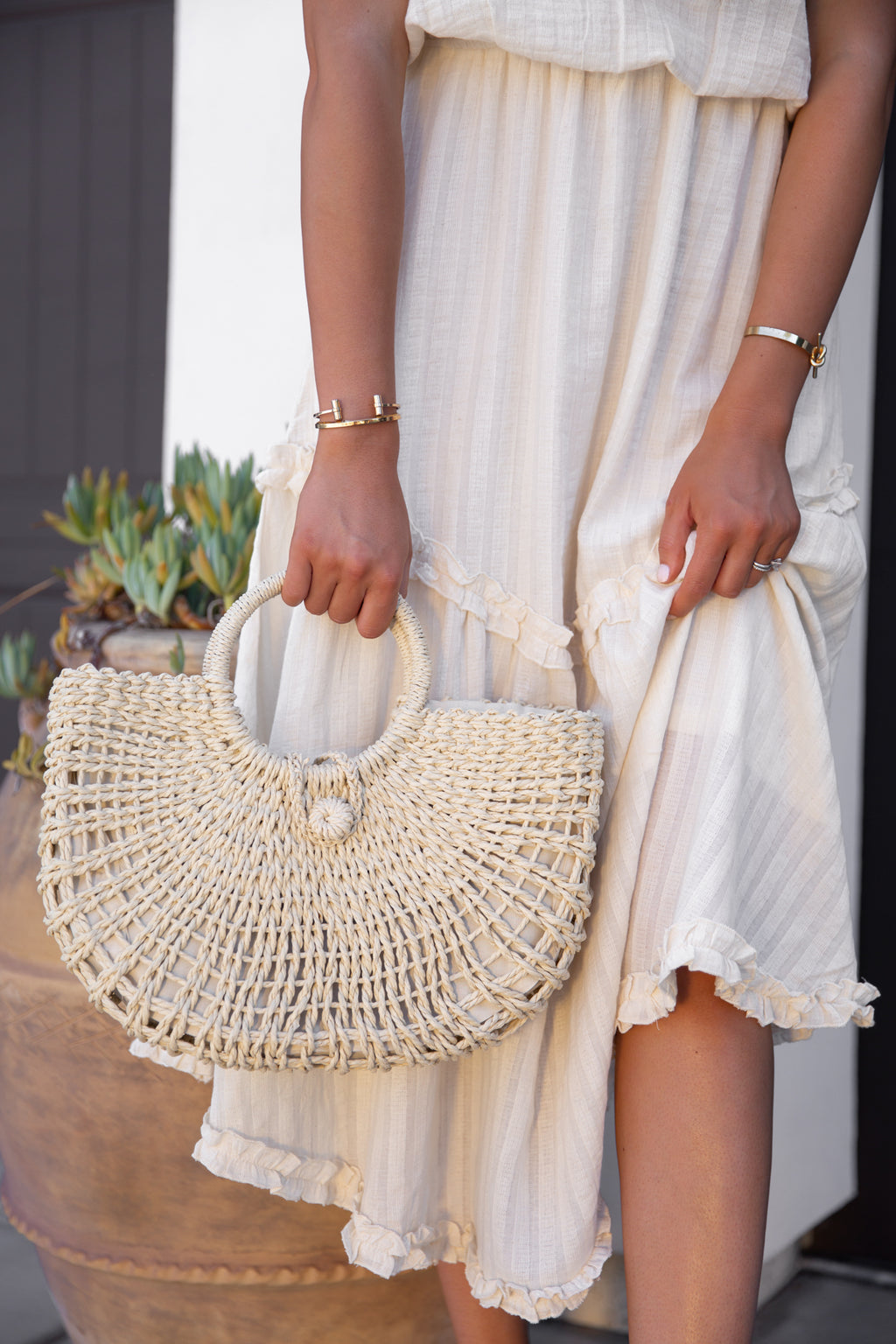 Far Away Cream Woven Tote- FINAL SALE