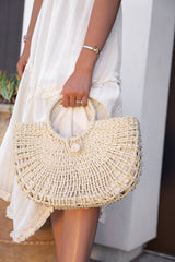 Far Away Cream Woven Tote