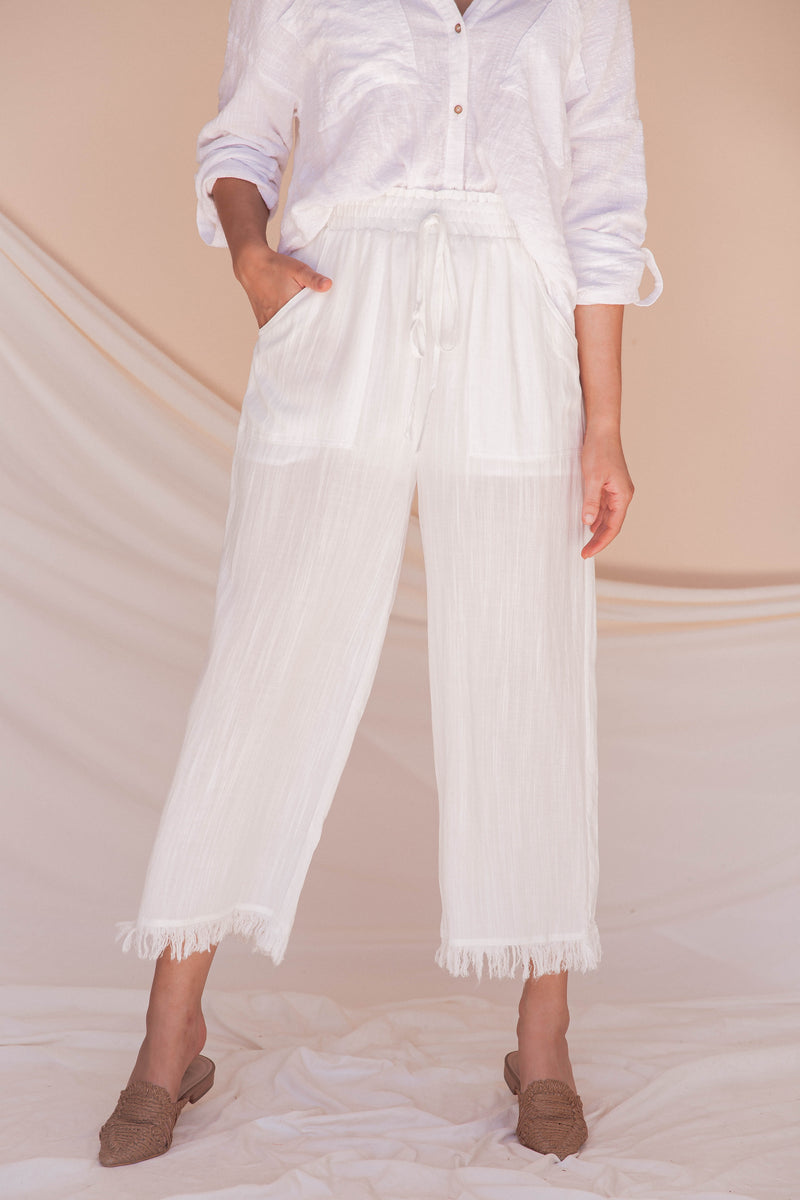 Under The Moonlight Linen Cropped Pants- FINAL SALE