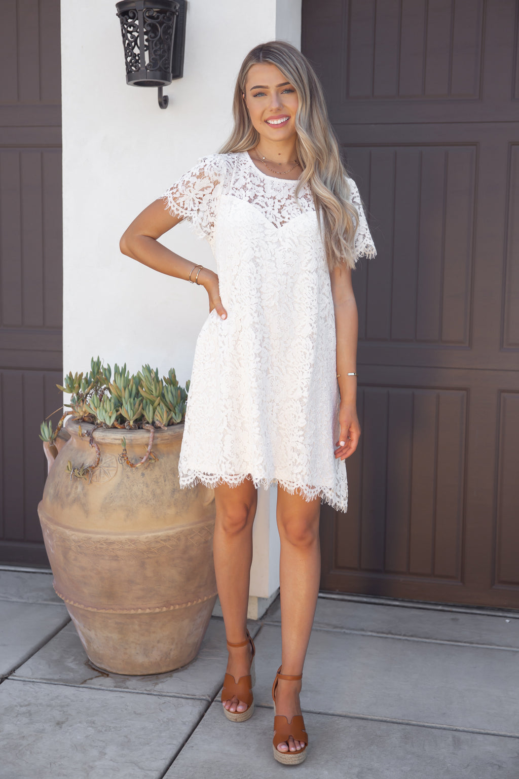 Sweetheart White Lace Dress