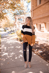 Chocolate Colorblock Knit Sweater
