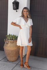 Glamorous Pleated Ivory Dress