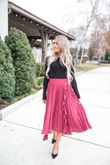 Steph Pleated Ruffle Midi Skirt - llacie