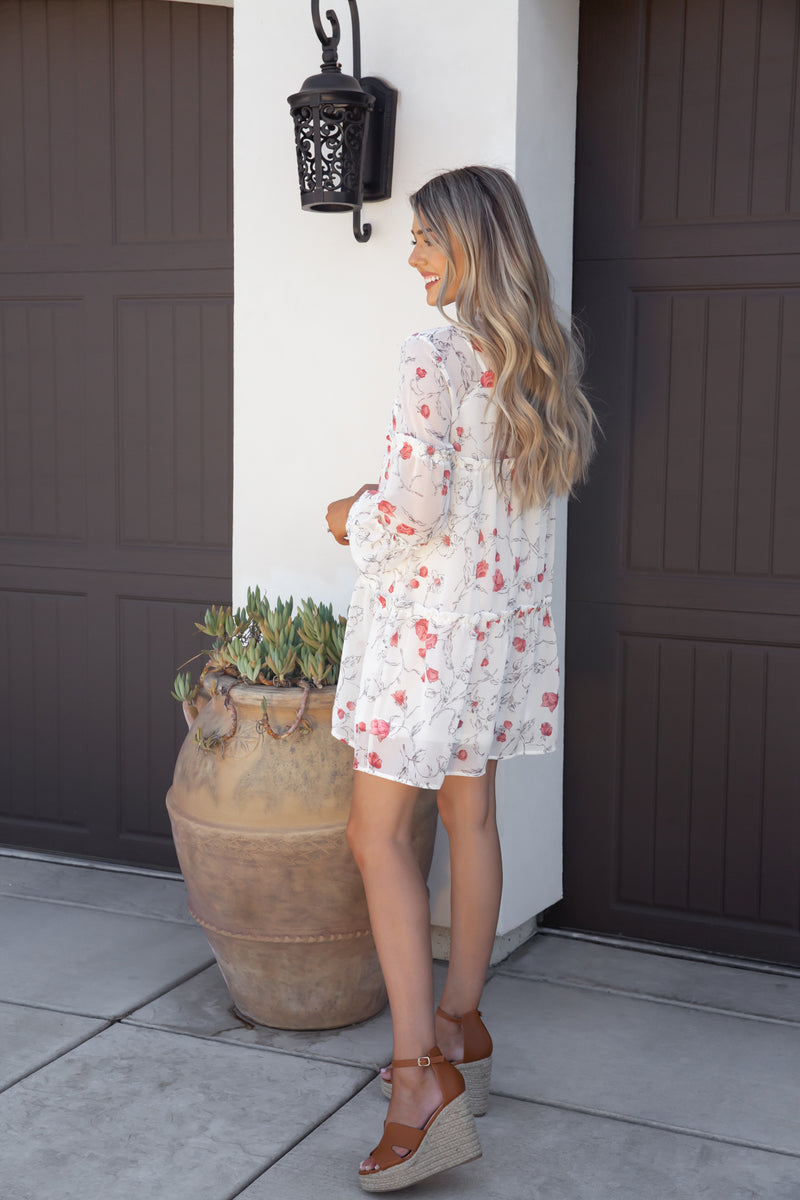 Kate Frill Floral Dress- FINAL SALE