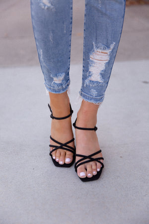 Classic Black Strappy Block Heel Sandals