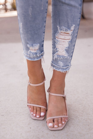 Sadie Nude Strappy Block Heel Sandals