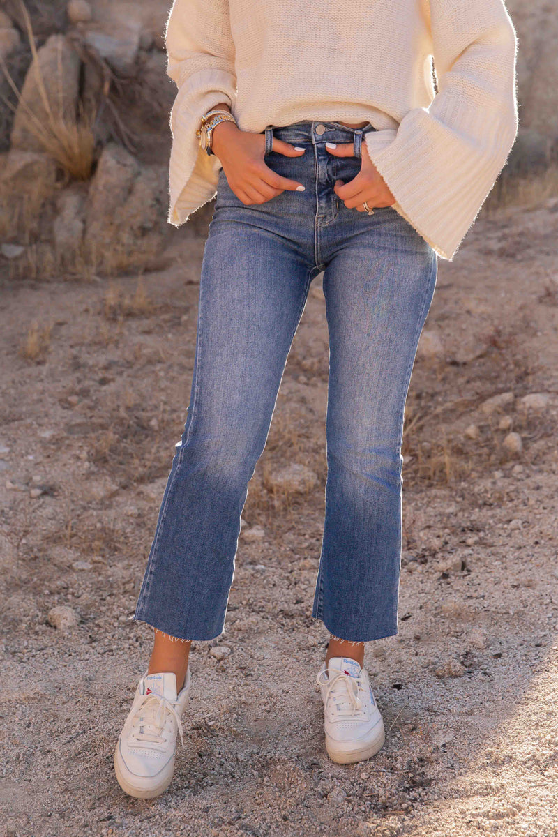 Joshua High Rise Crop Flare Denim | LLACIE