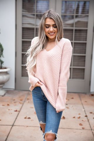 Dusty Pink Ribbed Sweater - llacie