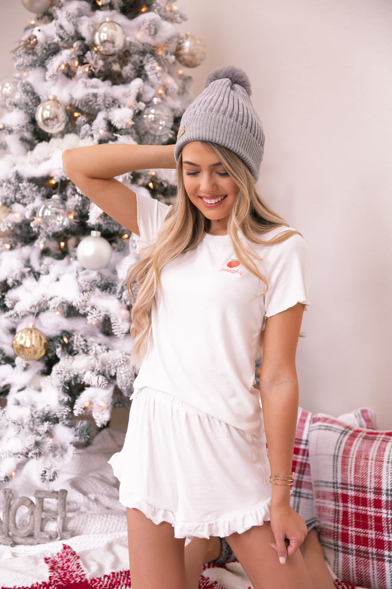 Peachy White Pajama Set