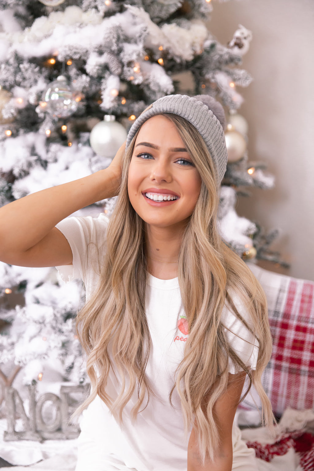 Winter Wonderland Grey Pom Pom Beanie