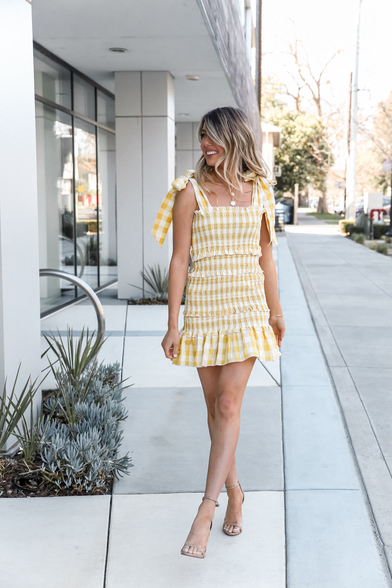 Kate Yellow Smocked Dress