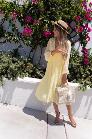 Sunshine Yellow Pleated Midi Dress