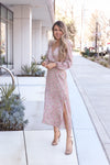 Peony Pink Long Sleeve Midi Dress