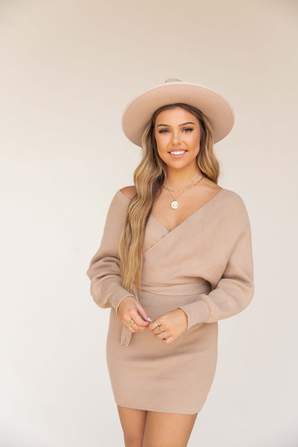 Sol Brown Long Sleeve Sweater Dress | LLACIE