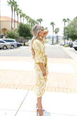 YELLOW KIMONO WRAP DRESS