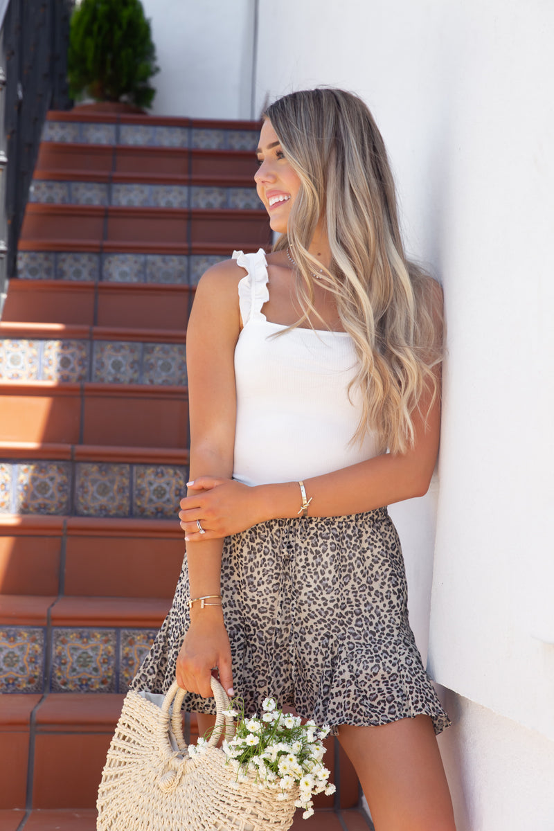 Val Leopard Print Ruffled Shorts- FINAL SALE