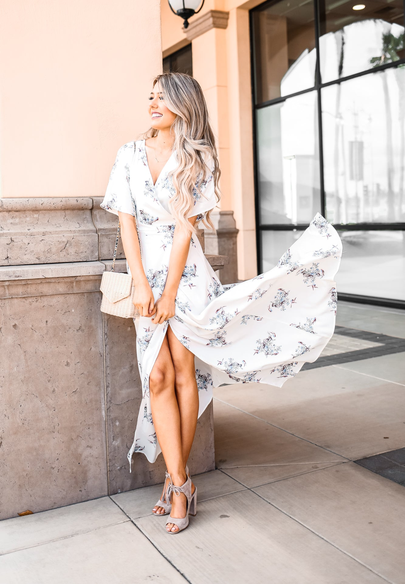 CHRISTY WHITE FLORAL MAXI DRESS