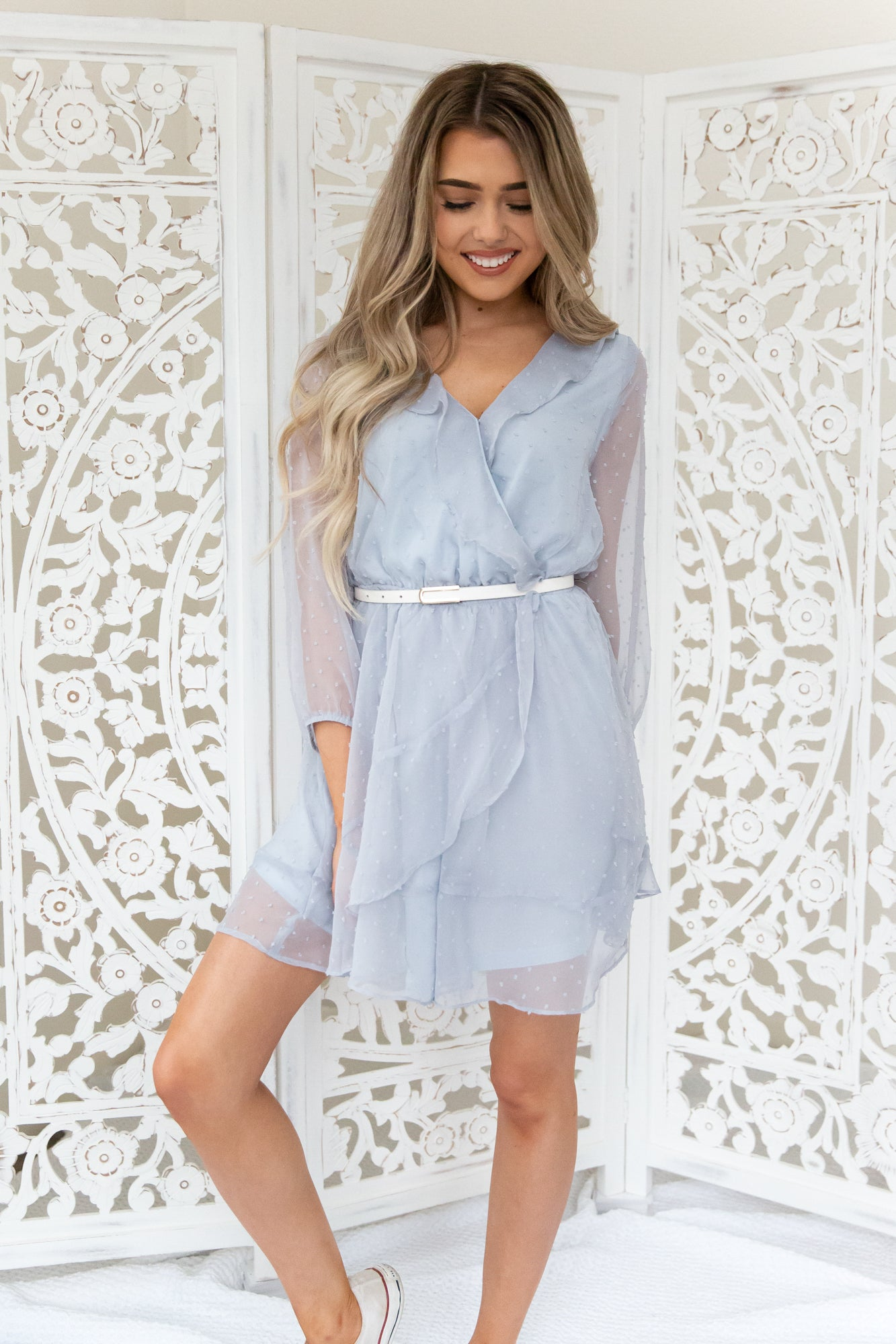Dusty Blue Dotted Dress - llacie
