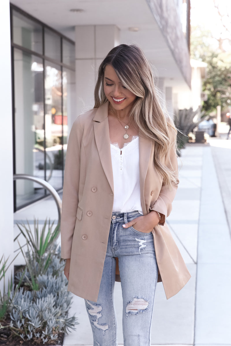 Khaki Button Blazer