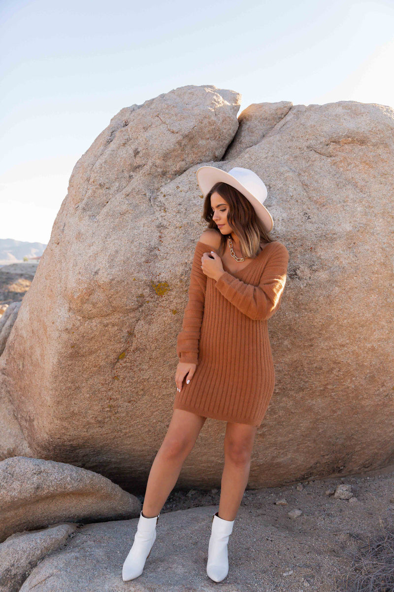 Dijon Fluffy Sweater Dress | LLACIE
