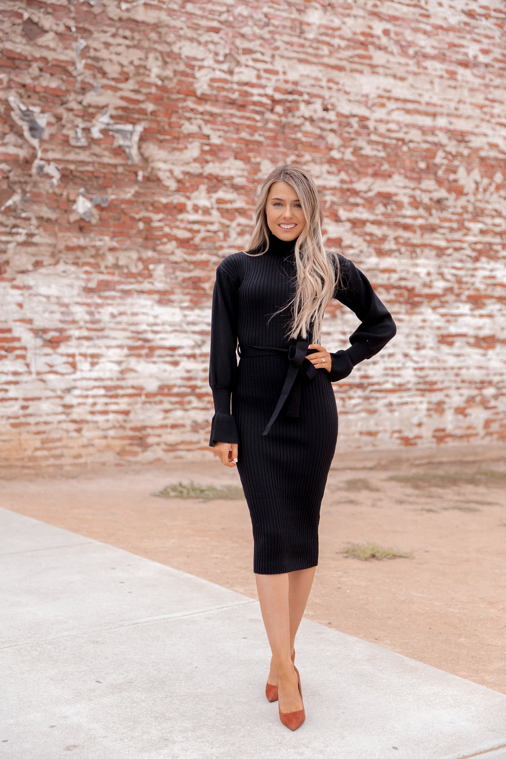 Beau Black Turtleneck Dress