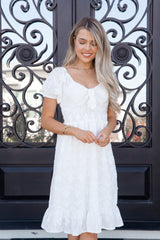 Lifelong White Floral Tie Dress