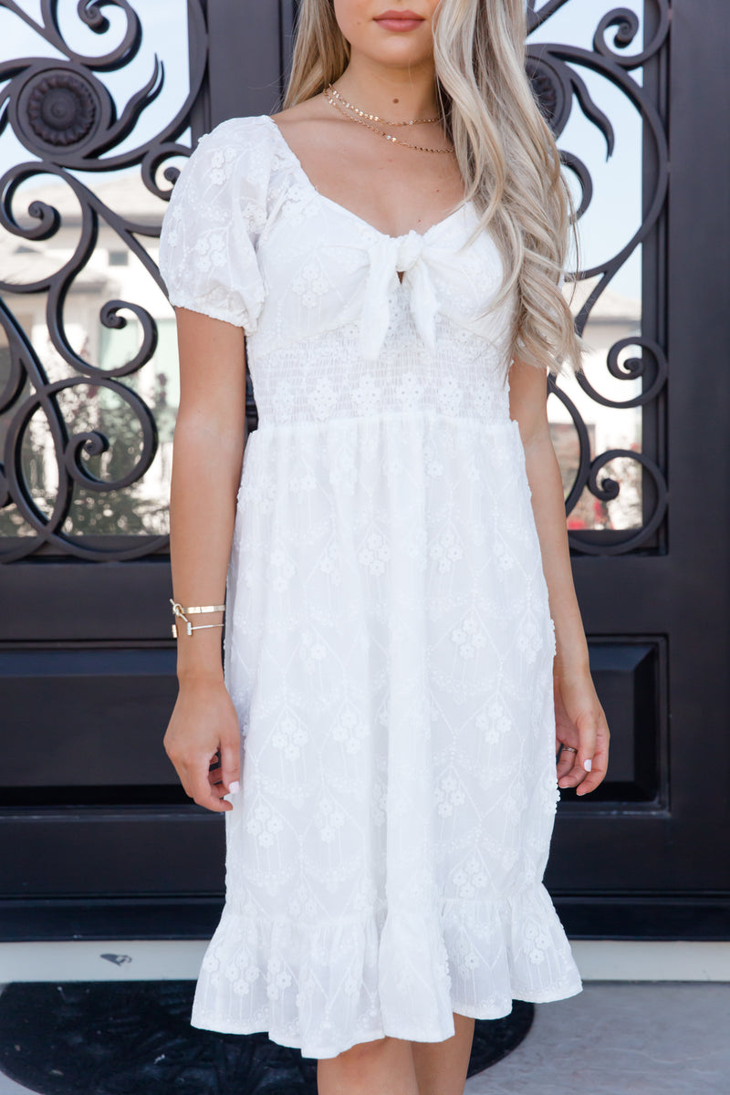 Lifelong White Floral Tie Dress- FINAL SALE