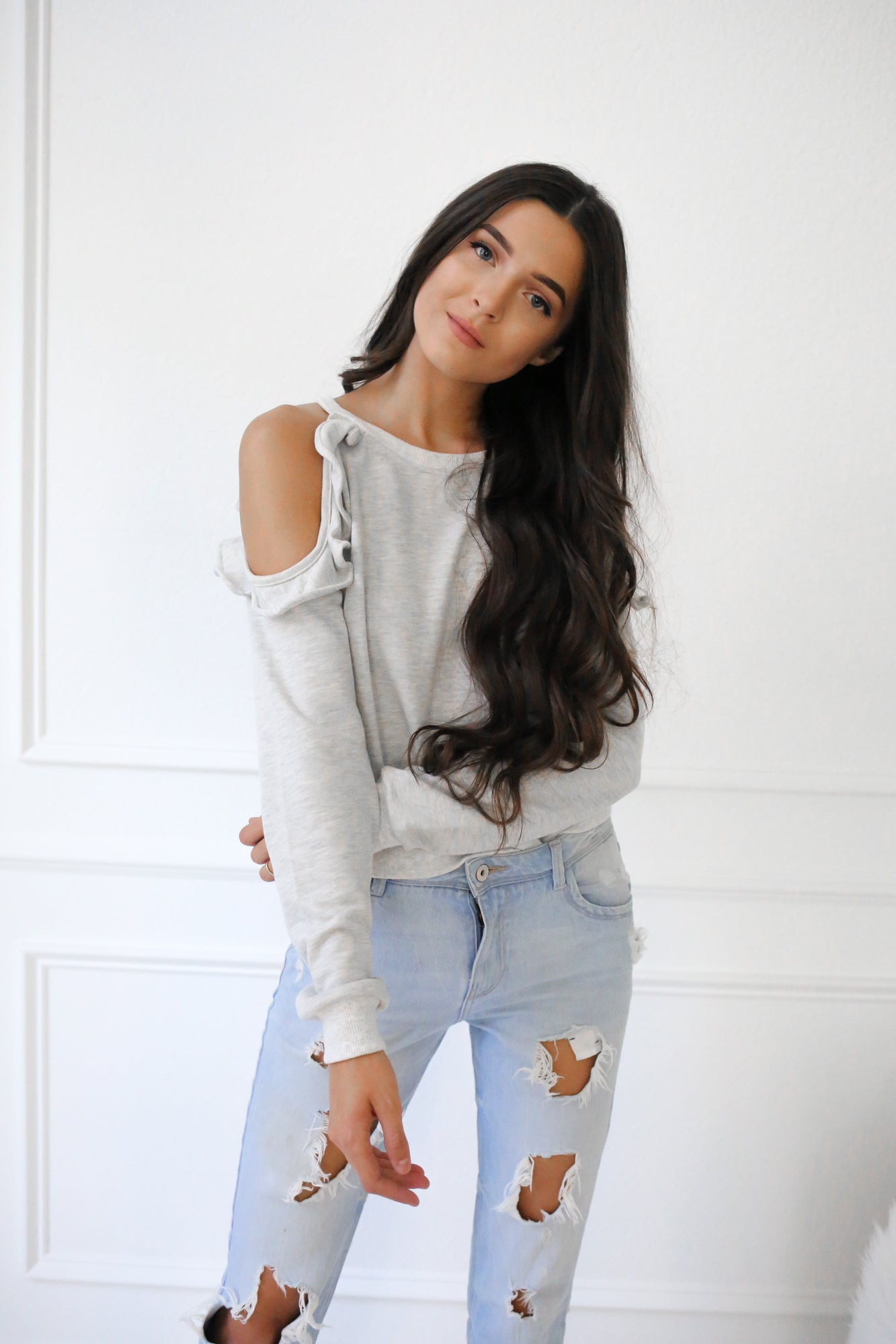 Everyday Ruffle Cold Shoulder Sweater - llacie