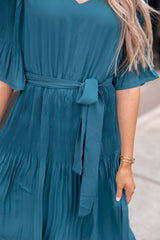 Mallory Emerald Pleated Dress