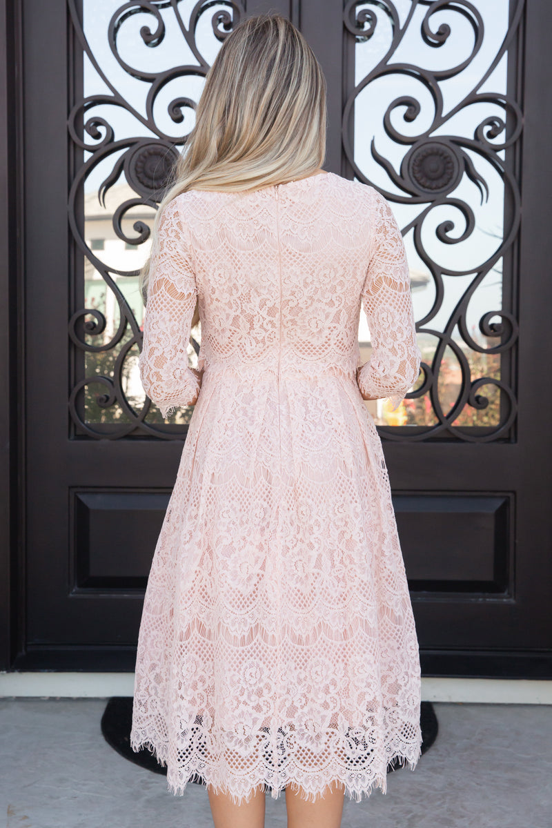 Princess Blush Lace Dress- FINAL SALE