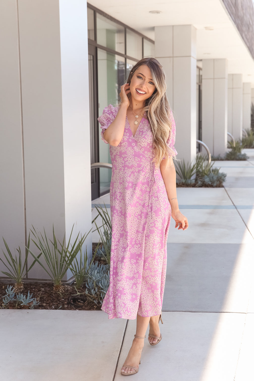 Orchid Pink Floral Dress