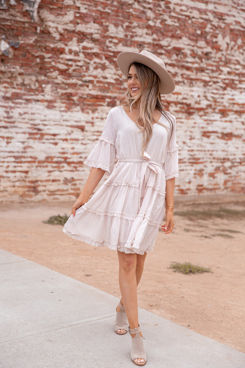 Rosie Natural Linen Ruffle Dress