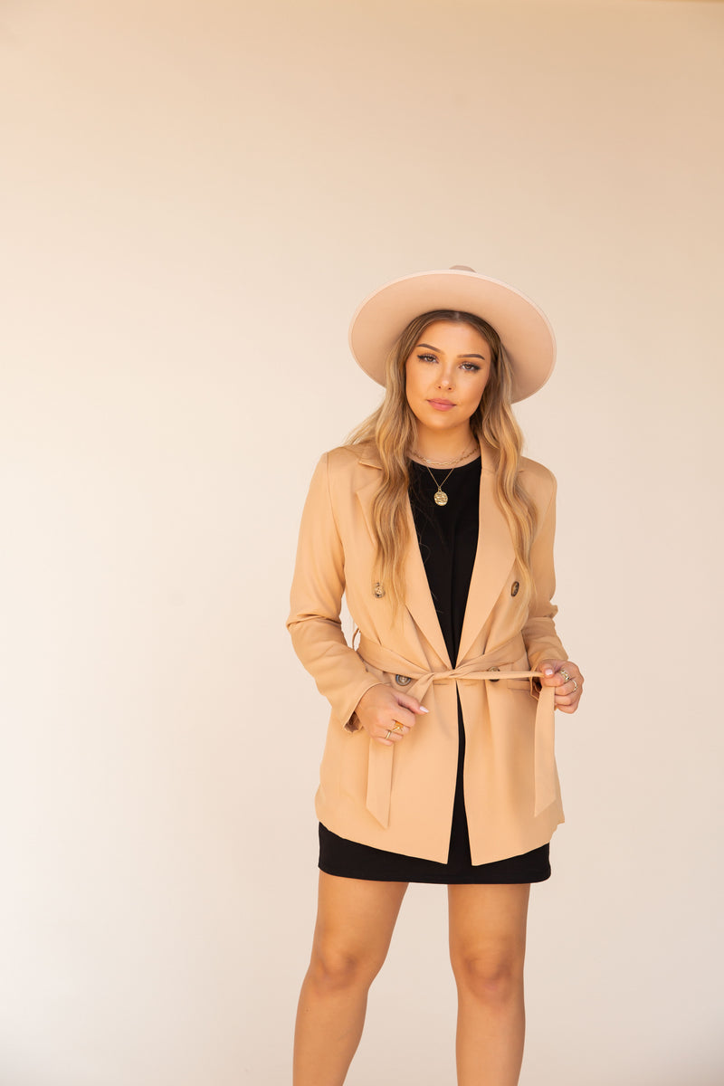 Rochelle Camel Double Breasted Blazer | LLACIE