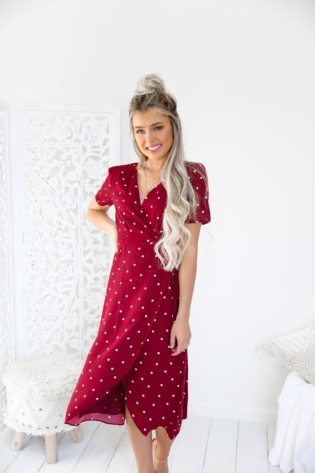 Peyton Polkadot Burgundy Dress