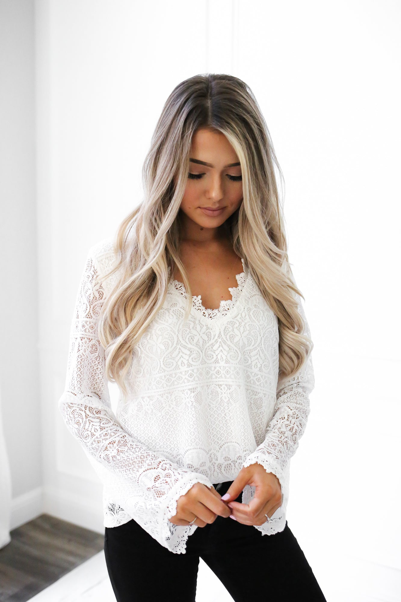 Long Sleeve Lace V Neck Top