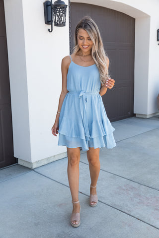 Away Baby Blue Ruffle Dress